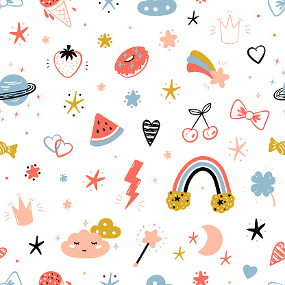 Magic Summer Vector Striped Background for Kids Fashion. Seamless Pattern with Cute Summer Symbols. Doodle Space Sky with Rainbow, Clouds and Stars. Sweet Food, Fruits and Berries