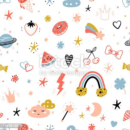 istock Magic Summer Vector Striped Background for Kids Fashion. Seamless Pattern with Cute Summer Symbols. Doodle Space Sky with Rainbow, Clouds and Stars. Sweet Food, Fruits and Berries 1163819513