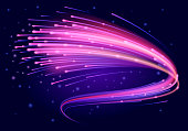 Magic swirl lines of purple and pink colors. Abstract shimmering trail with light effect. High speed