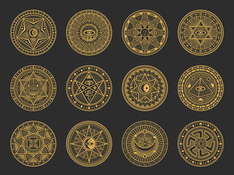 Magic symbols of alchemy, occult, esoteric signs