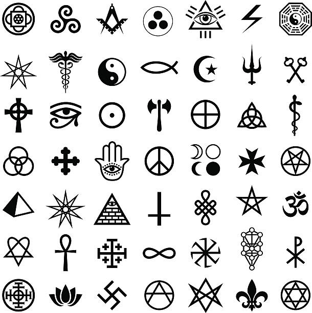 magic symbols - freemasons stock illustrations