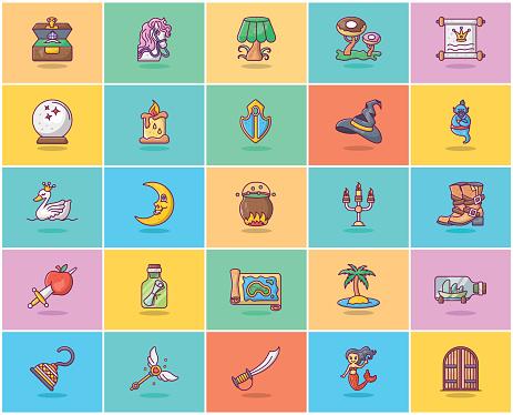 Magic Tale Flat Icons Pack
