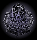 Magic Talisman religion Asian. Black color graphic in white background. Butterfly moth mandala illustration .