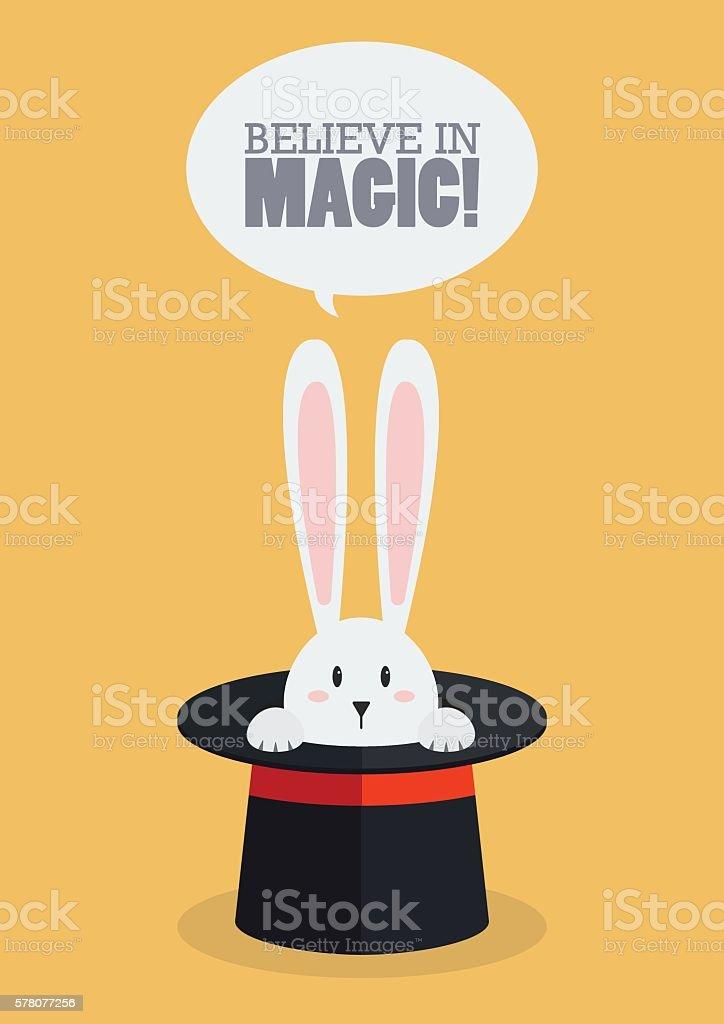 Magic top hat with rabbit vector art illustration