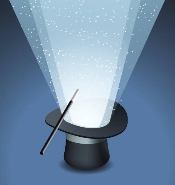 Magische Mütze mit Zauberstab Trick und Sternenhimmel – Vektorgrafik