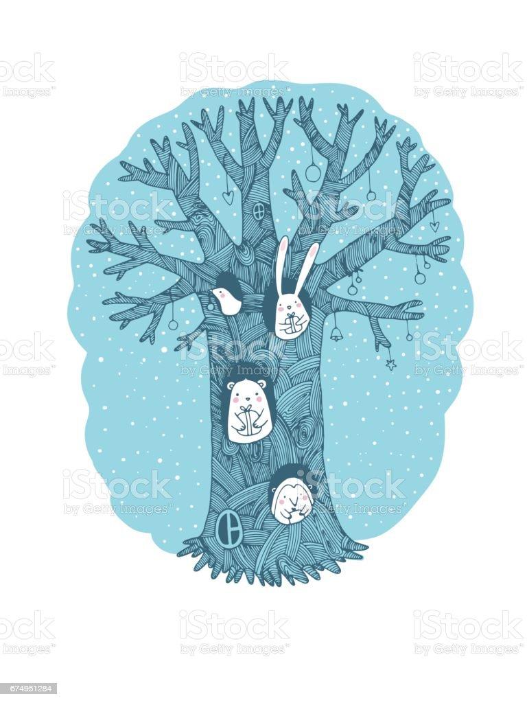 Wunderbaum, Tiere und Geschenke. – Vektorgrafik