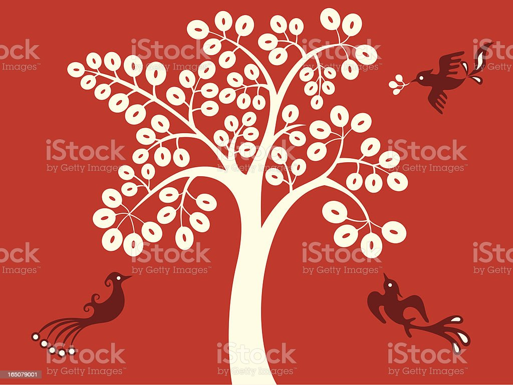 Magic Tree & Birds Delight royalty-free stock vector art
