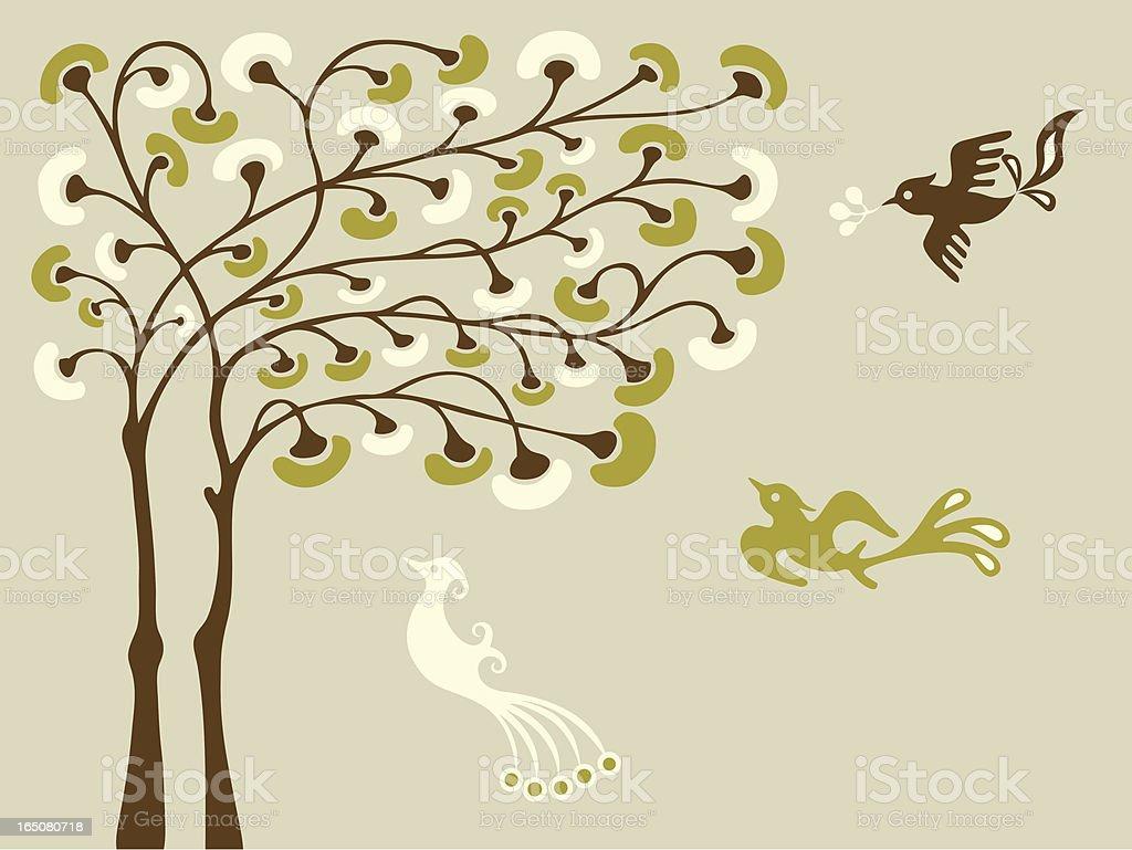 Magic Tree & Birds royalty-free magic tree birds stock vector art & more images of abstract