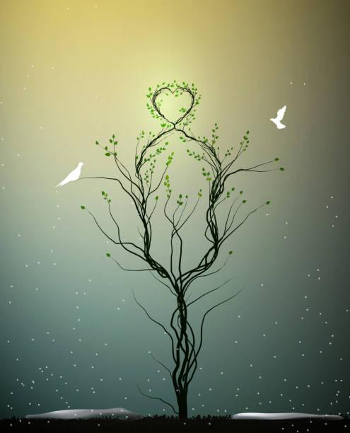 magische baum frühling liebe, baum mit herz körperrückseite und zwei weiße vögel fliegen darauf geheime baum der liebe, - gartenskulpturkunst stock-grafiken, -clipart, -cartoons und -symbole