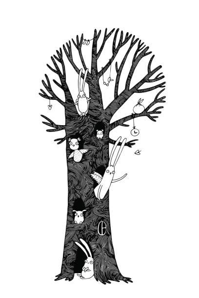 magische baum, kaninchen, eule, hund und maus. winterlandschaft. - stammes tattoos stock-grafiken, -clipart, -cartoons und -symbole