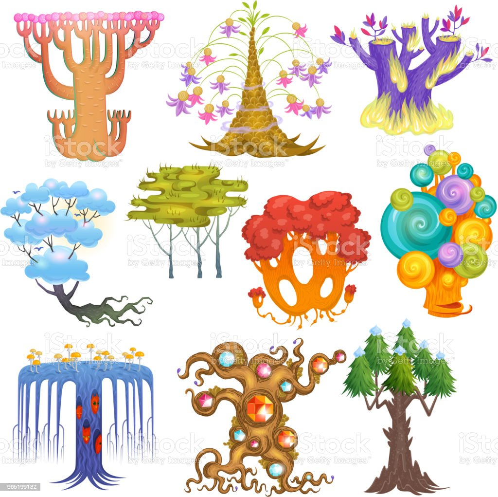 Magic tree vector fantasy forest with cartoon treetops and magical plants or fairy flowers illustration forestry set of colorful mystery oak isolated on white background magic tree vector fantasy forest with cartoon treetops and magical plants or fairy flowers illustration forestry set of colorful mystery oak isolated on white background - stockowe grafiki wektorowe i więcej obrazów bajka royalty-free