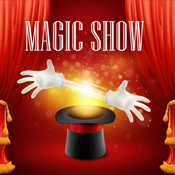 Magic trick, performance, circus, show concept. Vector illustration Magic trick performance, circus, show concept. Vector illustration EPS 10 formal glove stock illustrations