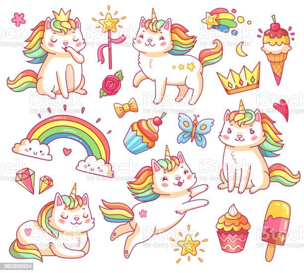 Magic unicorn cats in crown sweet cupcakes ice cream rainbow and vector id960866934?b=1&k=6&m=960866934&s=612x612&h=e14hpo e fpiswniripszna0zovzuxjju8is7gacifk=