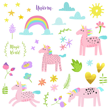 Magic Unicorn Collection. Childish Elements Set with Unicorns, Flowers, Rainbow and Clouds. Birthday Party Decoration, Invitation, Greeting Card. Vector illustration