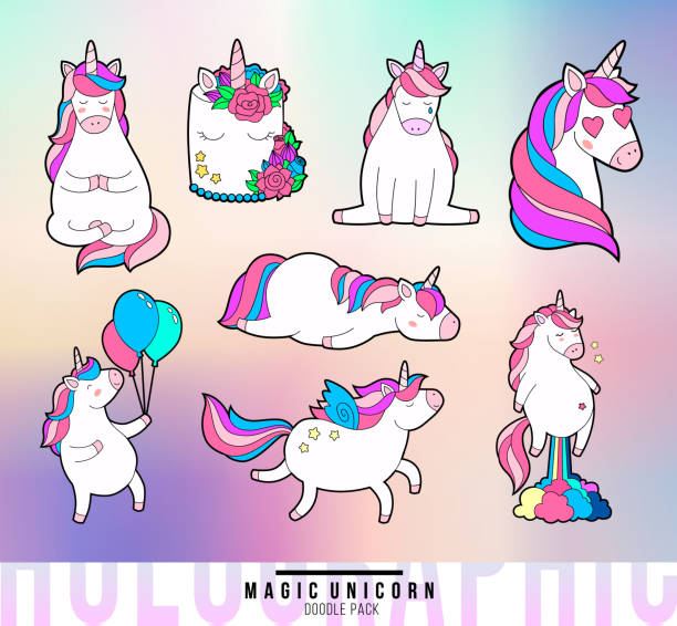 magic unicorn doodle patches.holographic back texture. vector illustration. - unicorns stock illustrations