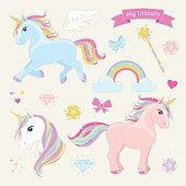 Magic unicorn vector set. Unicorns in Action.