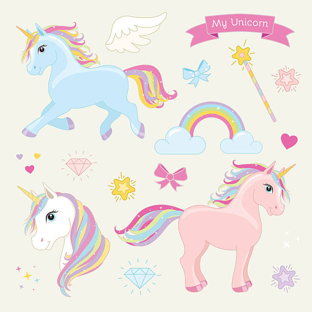 Magic unicorn vector set. Unicorns in Action. - ilustración de arte vectorial
