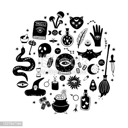 istock Magic vector round set consists of a crystal ball, black cat, bat, skull, magic elixir, snake, eyes, etc. 1227547164
