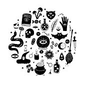 Magic vector round set consists of a crystal ball, black cat, bat, skull, magic elixir, snake, eyes, etc. Hand-drawn icons with symbols of witchcraft isolated on a white background.