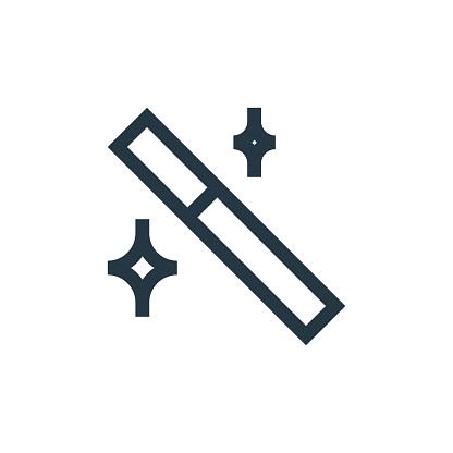 magic wand icon vector from vector editing concept. Thin line illustration of magic wand editable stroke. magic wand linear sign for use on web and mobile apps, logo, print media..