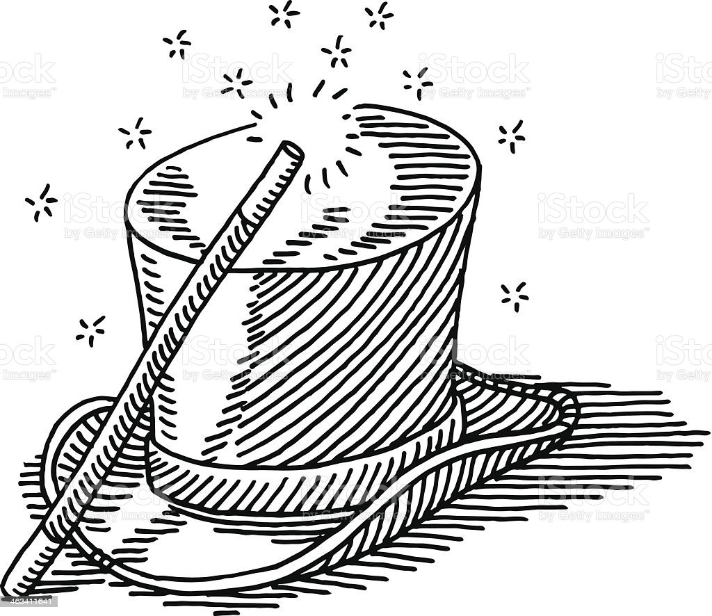 Magic Wand Top Hat Drawing Stock Illustration - Download ...