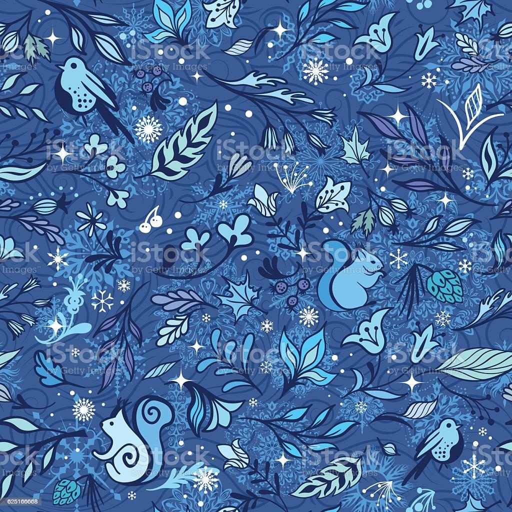 Magic Winter Forest Vector Pattern vector art illustration