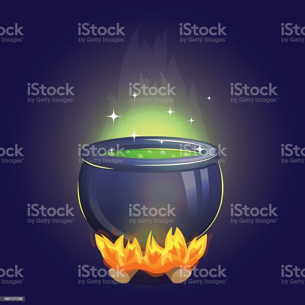 Magic witch alchemy cauldron on fire vector art illustration