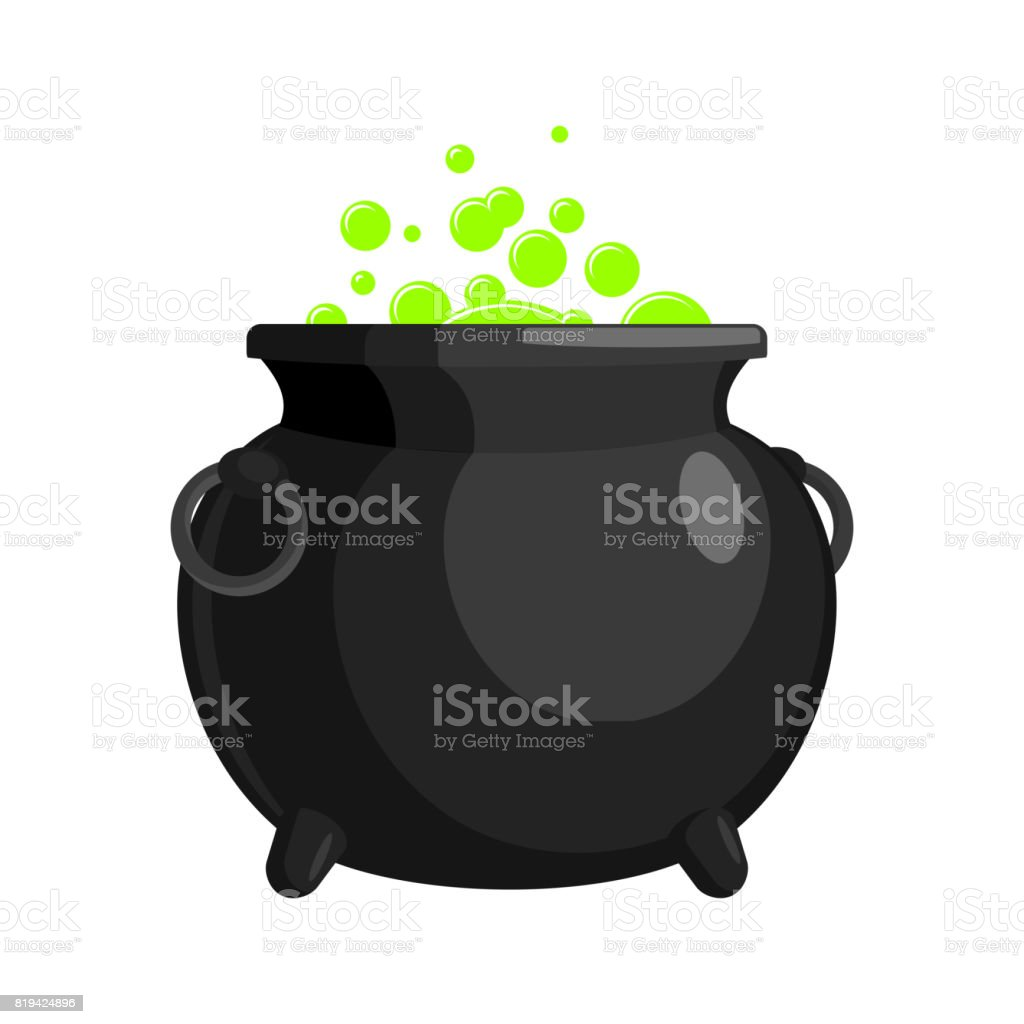 Magic Witch Cauldron. magical boiler isolated on white background vector art illustration