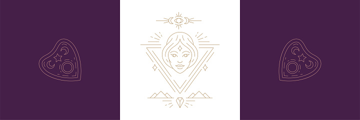 Magic woman face and ouija board pointer in boho linear style vector illustrations set