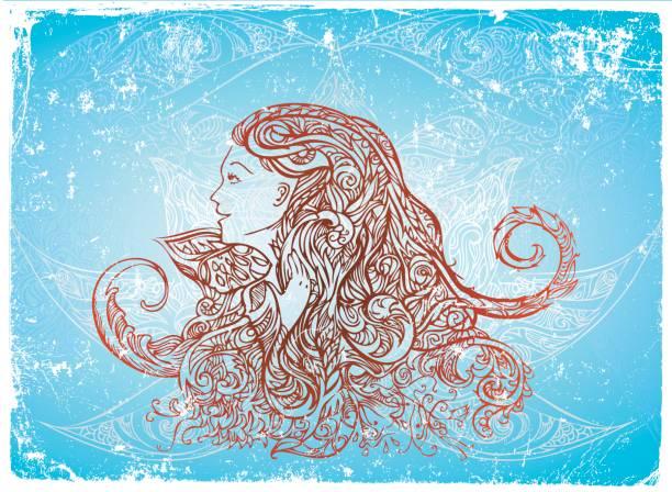 magic woman vector art illustration