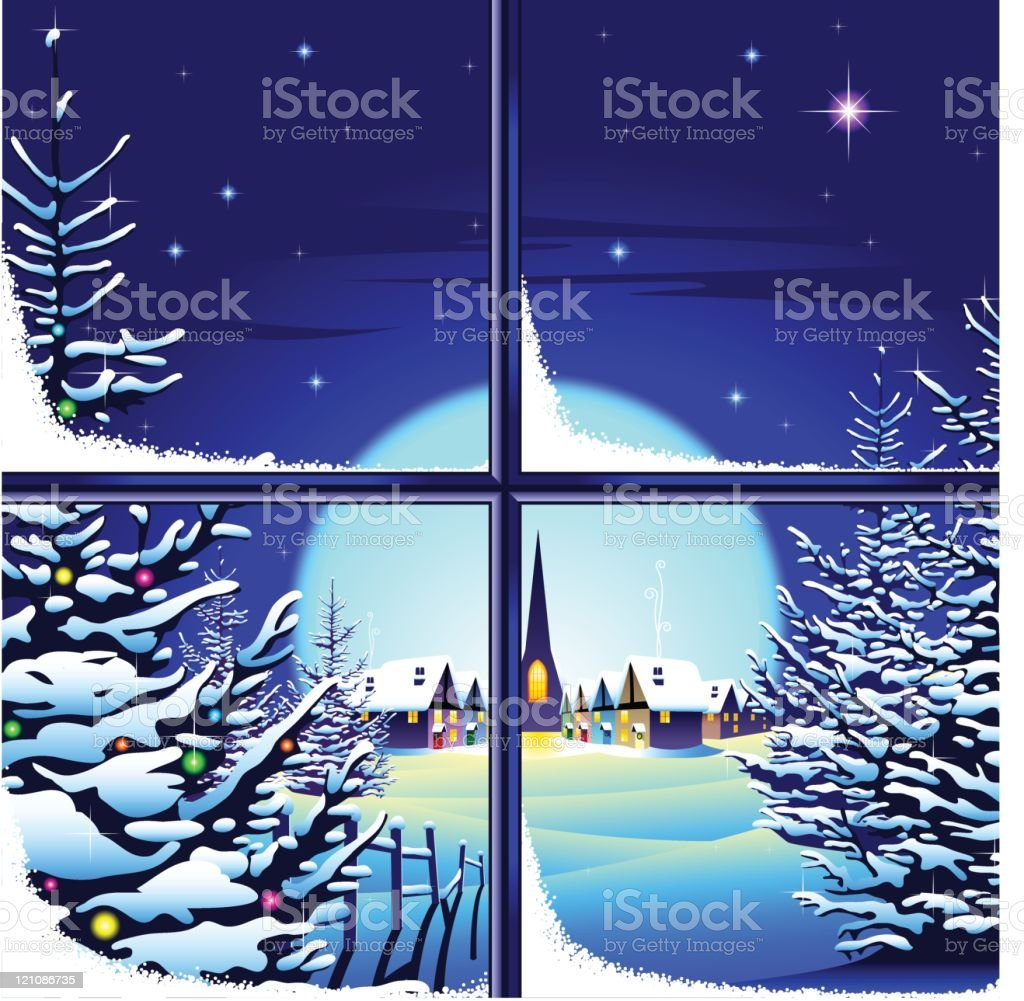 Magical Christmas village snow scene through a window royalty-free stock vector art