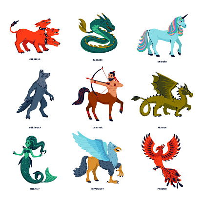 Magical creatures set. Mythological animals. Doodle style black and white vector illustration isolated on white background. Tattoo design or coloring page, Line Art