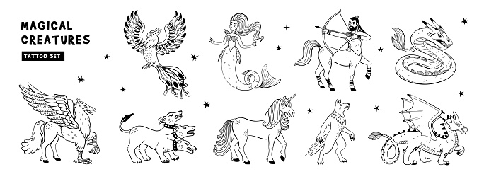 Magical creatures set. Mythological animals. Doodle style black and white vector illustration isolated on white background. Tattoo design or coloring page, Line Art. horizontal page