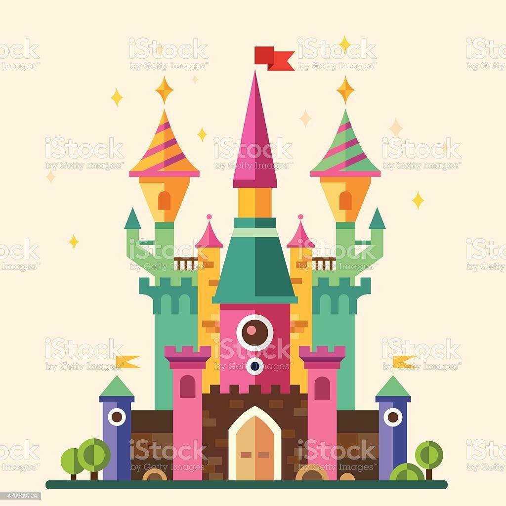 Magical fabulous cartoon castle vector art illustration