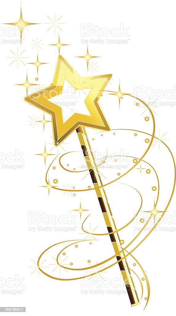 A magical fairies wand on a white background royalty-free a magical fairies wand on a white background stock vector art & more images of gold colored