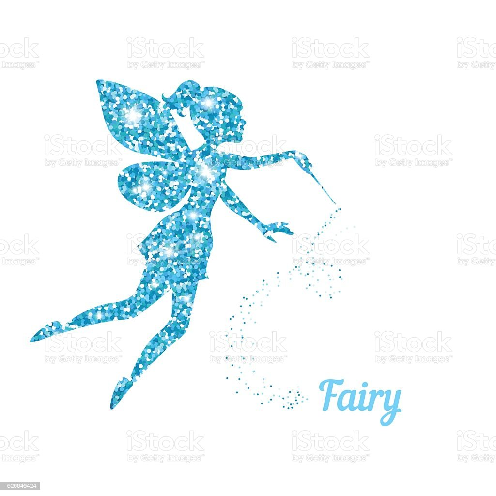 Magical fairy with dust glitters vector art illustration