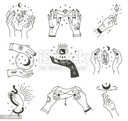 Magical hands. Boho occult magic hand, witch mystical symbol, witchcraft hand drawn arms with moon and crystal vector illustration icons set. Magic spiritual witchcraft, mystic esoteric