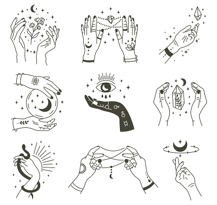 Magical hands. Boho occult magic hand, witch mystical symbol, witchcraft hand drawn arms with moon and crystal vector illustration icons set