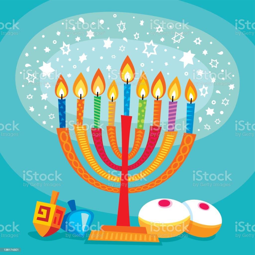 Magical Hanukkah vector art illustration
