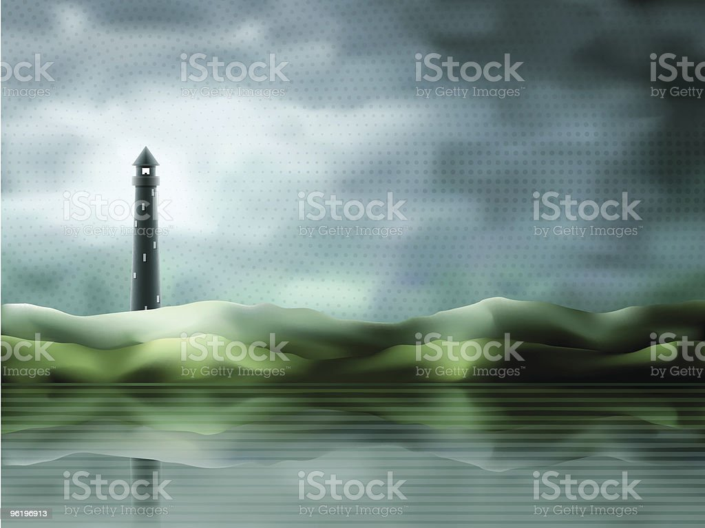 Magical lighthouse scenery royalty-free stock vector art