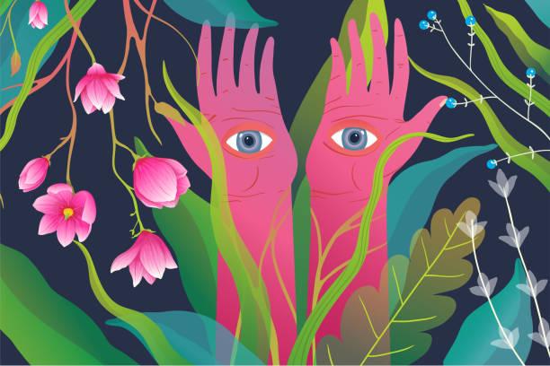 magische natur und erhobene arme hände handflächen mit augen, surreale esoterische meditation oder yoga hintergrund. - surreal stock-grafiken, -clipart, -cartoons und -symbole