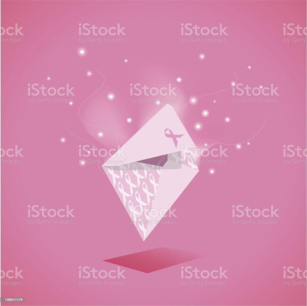 Magical Pink Ribbon Envelope royalty-free stock vector art