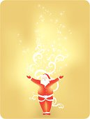 vector illustration of Santa Claus and his magic dusts. Visit portfolio for More Christmas Series Lightbox