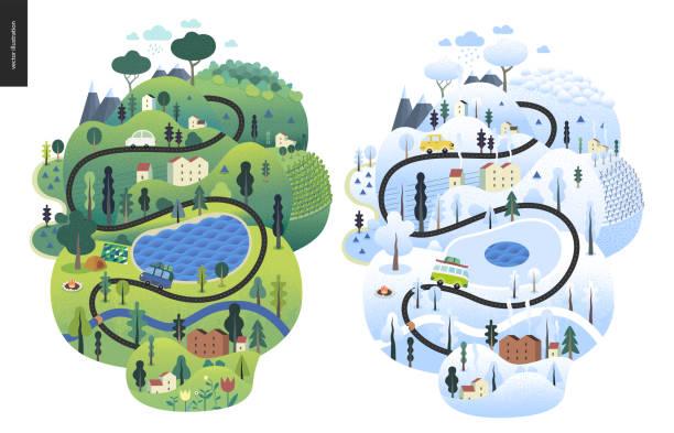 illustrazioni stock, clip art, cartoni animati e icone di tendenza di magical season landscape - car chill