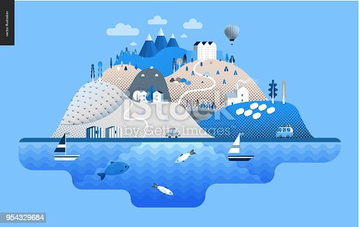 Magical summer landscape - green island with hills, roads, cars, castle, houses and trees, with mountains, balloon and clouds above and waving sea and striped houses on the coast.