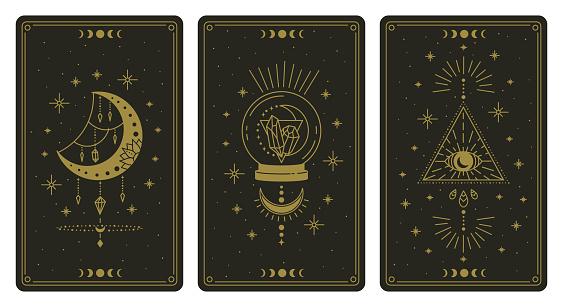 Magical tarot cards. Magic occult tarot cards, esoteric boho spiritual tarot reader moon, crystal and magic eye symbols vector illustration set