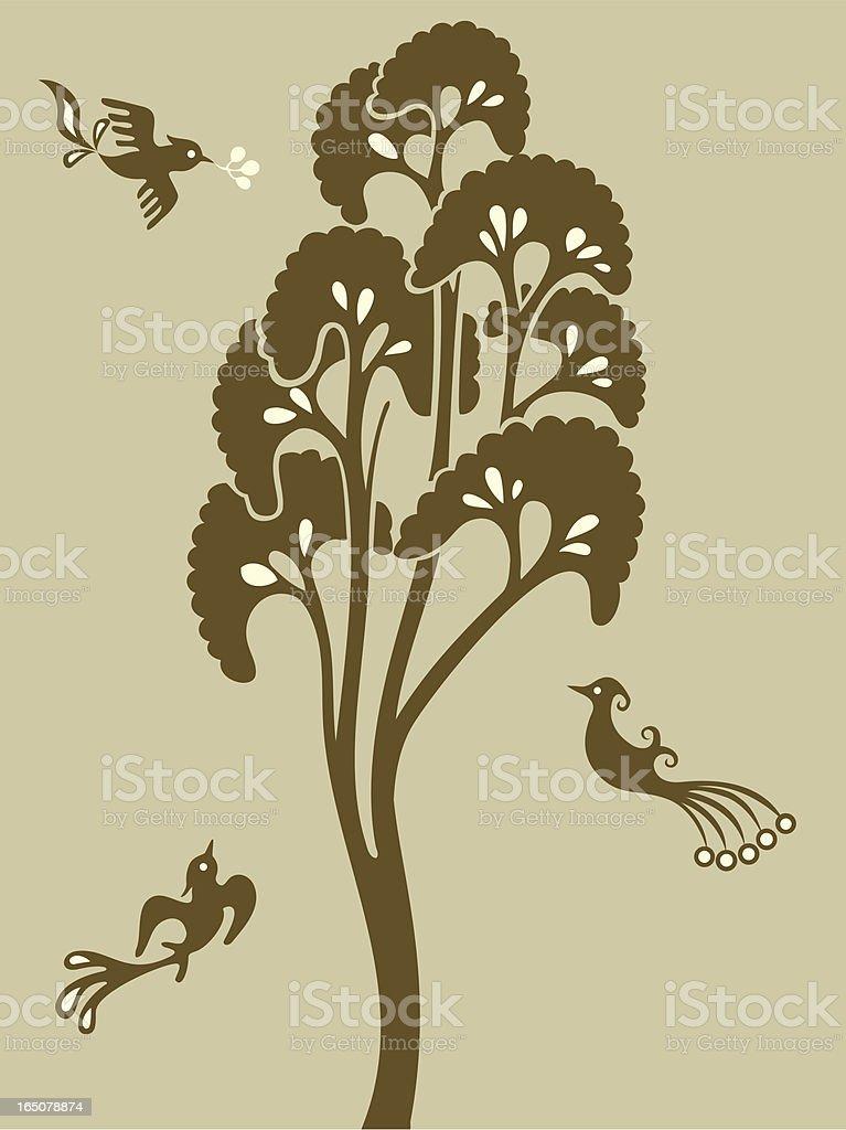 Magical Tree & Birdies royalty-free stock vector art
