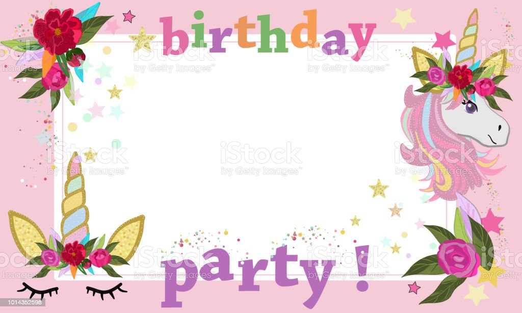 Magical Unicorn Birthday Party Photography Frame Happy Greeting Card