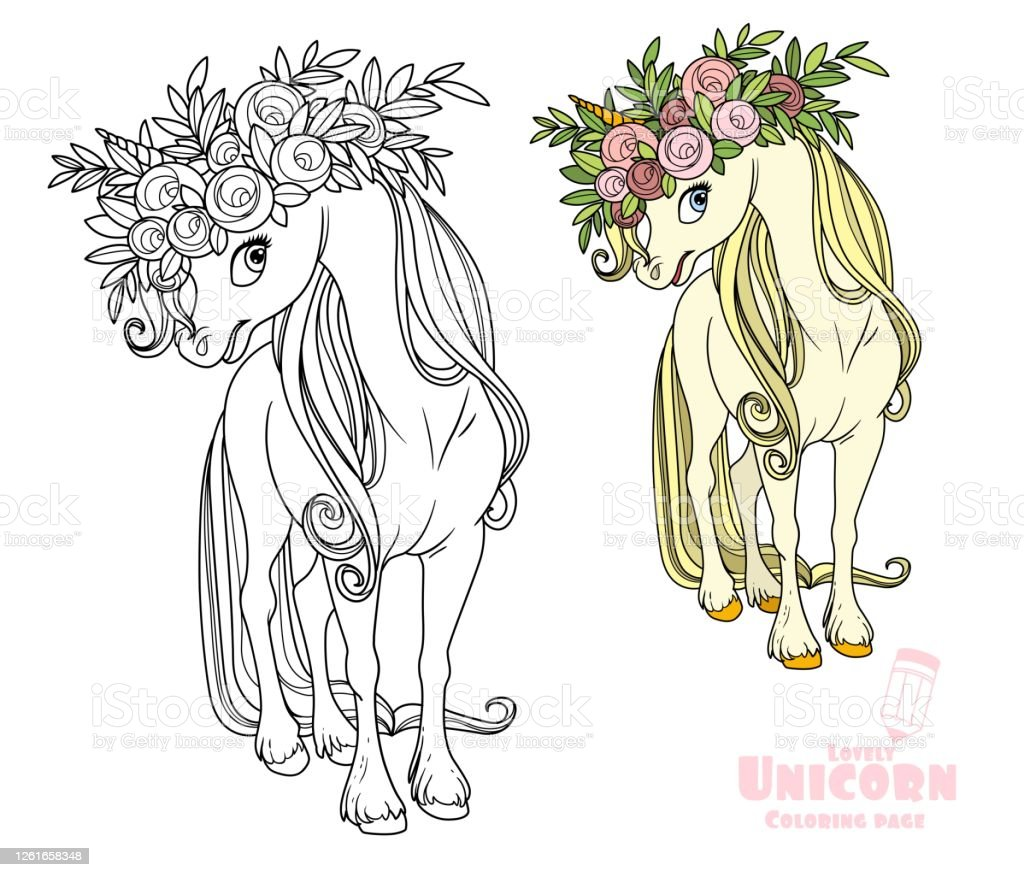 Magical Unicorn In Wreath Of Roses Color And Outlined Picture For Coloring  Book On White Background Stock Illustration   Download Image Now