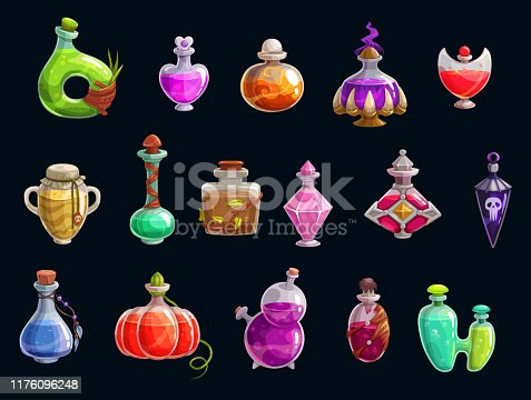 istock Magical witch potions, Halloween party, elixir 1176096248